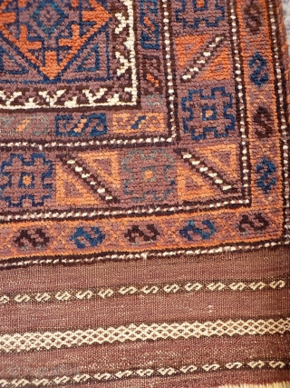 A coarsely woven Belouch prayer rug with the best quality soft wool. The feeling is that of a very tribal rug and the handle is similar to a gabbeh with a high  ...