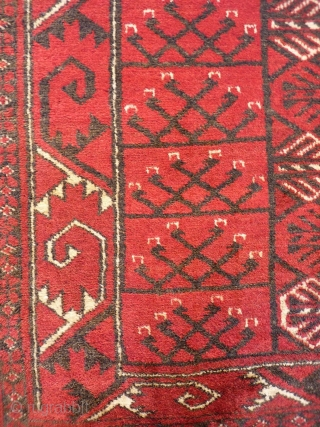 This large Turkman Hajloo arif Khag prayer rug is framed by a large scale border. The colour palette is restricted to only 3 colours, and the wool is soft and shinny. In  ...