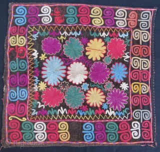 Kirgiz lakai tribal silk embroidery on velvet,57 x 42 cm .