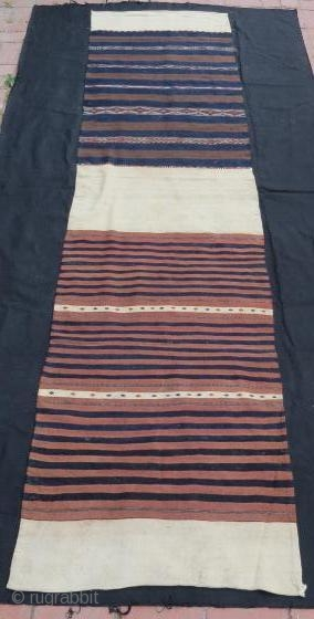 Turkish Bergama Chuval, pure wool with silk embroidery .294 x 73 cm