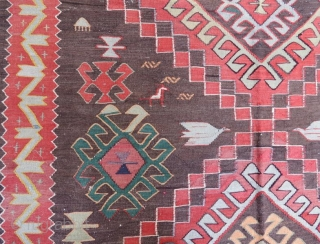 Decorative old Kuba Kilim in good condition ,285 x 170 cm 