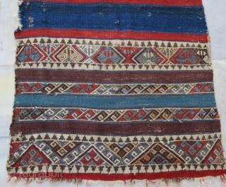 Anatolian wool embroidery kilim with damage, 300 x 80 cm