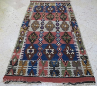 Antique Anatolian kilim with damage,210 118 cm 