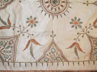 Ottoman silk textile with metal embroidery,80 x 80 cm .