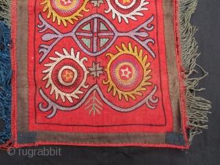 ANTIQUE Kyrgyz Lakai Mirror Cover , Silk Embroidery Wall Hanging.65 x 37 cm. www.eymen.com.tr
