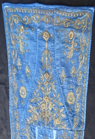 19 th century ottoman sirma fragment , fine silver  metallic embroidery on silk,