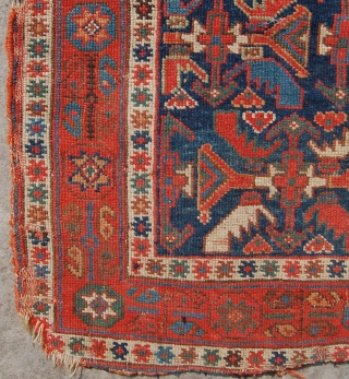 Beautiful fine early Afshar bagface. Circa 1870. Lovely colour and tight weave. One of the old ones. Needs a good clean and edge damage which is reflected in the price. 84 x  ...