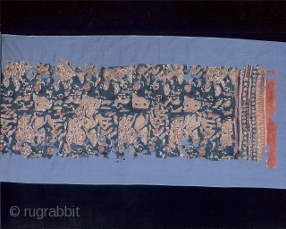 Indian trade textiles 001 - Heirloom textile (Maa'), traded to Sulawesi, 14th century, cotton, block printed & painted mordant, resist- mordant - dyed, very poor condition.