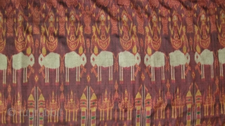 Cambodian textiles  Cambodia 005 (292cm x120cm - 115in x 47,5in), silk Ikat, small to medium size damages, good color, age approx. late 19th century.