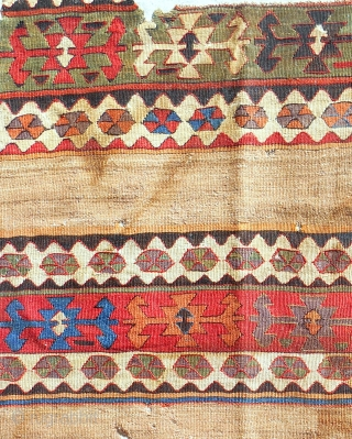 Circa 1800 Central Anatolian banded kilim fragment with camel. Conserved & mounted on linen.