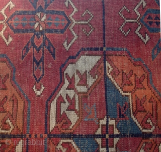 Early Akhal Tekke main rug with unusually saturated and varied colors.