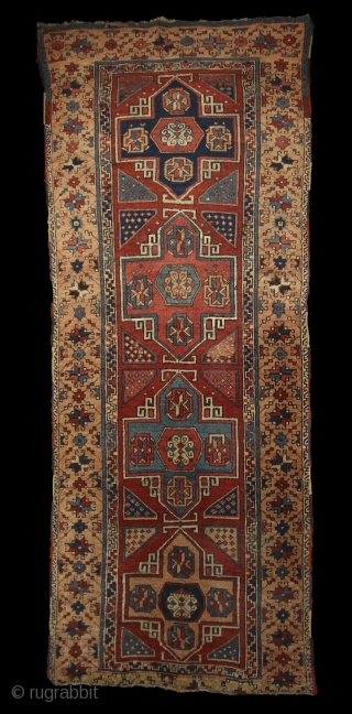 East anatolian 'Holbein' rug, mid. 19th cent. 100x266 cm. In almost 100% perfect, original condition, with full meaty pile all over, only 2-3 small corroded spots of browns. century. The material is  ...