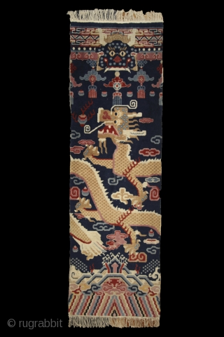 Tibetan pillar rug, 1st half of 20th century, 220x70cm, wool on cotton, perfect condition, beautiful colors, intact sides and ends and full, soft pile overall. other pieces on sale: http://rugrabbit.com/profile/5160 (photograph of the  ...