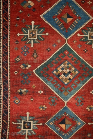 Shamkir/Tovuz rug with a free soul! wonderful opened, floating atmosphere….. Real, non-commercial village work of art with individual way of using the tradition. Note the slight border, which kept its visual power  ...