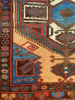A shining icy blue/turquise oasis floating in the middle of the sand desert (undyed camel-hair wool) Charismatic Karapinar village rug, mid 19th century, Central Anatolia. A real village piece with rural touch  ...