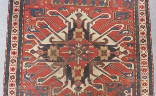 19th Century eagel kazak with single madalion all natural dyes Size.230x145cm