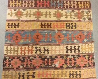 18th Century Central Anatolian Aksaray Kilim Size.380x155cm