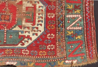Early 19th Century Caucasian Rug unusual green border and interesting desing super colors Size.180x133 Cm