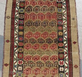 Antique Persian Hamadan Runner Rug Size.364x95 Cm