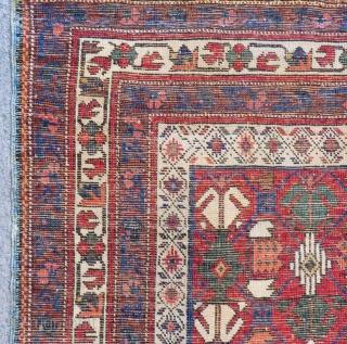 Antique Caucasian Kuba Small Rug Size.108x87Cn