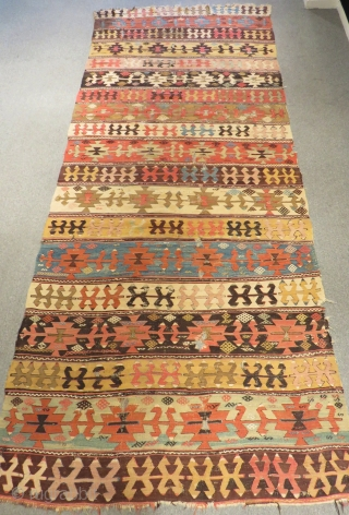 Early 19th Century Central Anatolian Aksaray Kilim Size.380x155cm