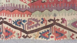 Antique East Anatolian Sivas Kilim One Part Size.380x85cm