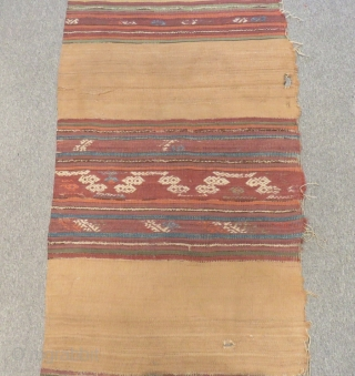 Antique Anatolian Striped Kilim One Part Size.370x90cm