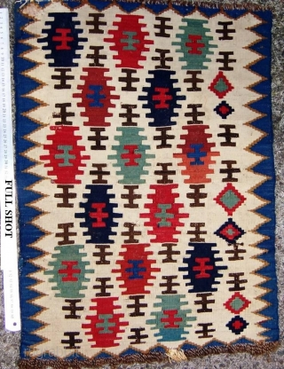 Beautiful small Caucasian Kilim possibly part of saddle bag  Great colours  fine weaving very restoration circa 1860    49 cm * 68 cm