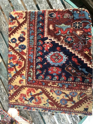 Anatolian Khula rug fragment 50*59 cm circa 1800 fabulous rich colours and lustrous pile conserved round the edges Pay PayPal or BACS transfer   postage included   for UK only