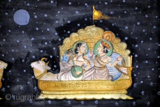 Pichavai, painting on silk from India.  19th century.  172 x 110 Cm. 5.7 ft.x3.6 ft.  In good condition.  Sewn on cloth and placed on plywood board.   price € 1200 plus shipping.  ...