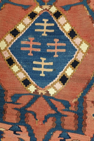 Kilim, early 20th century, Province Adzerbeijzan North West Iran, a simular one  depicted in the book of Preben Liebetrau, Oosterse Tapijten in kleur. The book comes with the kilim. 