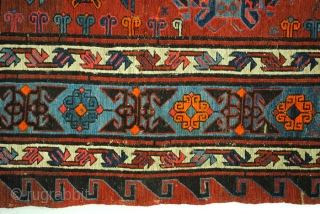 Soumack, 500 x 320 Cm. 16.6 feet x 11 feet. dated 'Allah tarich'; in the year of the Lord, 1321 in our calendar 1903 and signed with the names of the couple.  ...