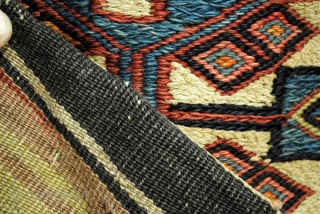Soumack, 'grain' sack?, natural colors. 82 x 130 Cm. 2.7 ft. x 4.3 ft. Embroidery.  Kilim back. In very fair state, one hole in the back.