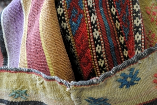Soumack, 'grain' sack?, natural colors. 82 x 130 Cm. 2.7 ft. x 4.3 ft. Embroidery. 