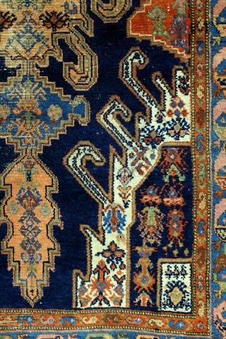 Hamadan area, early 20th century, 268 x 130 Cm.  The design comes from the Caucasus, Gymil of Kabala.   This rug became so special, in my eyes, because of the traces of age.  ...