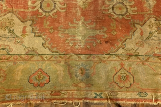 Ushak, Turkish, brick red and soft linden green, pacific ocean blue, AS IS, did not wash it, 390 x 303 Cm. - 13 ft. x 10 ft. chabby chique.