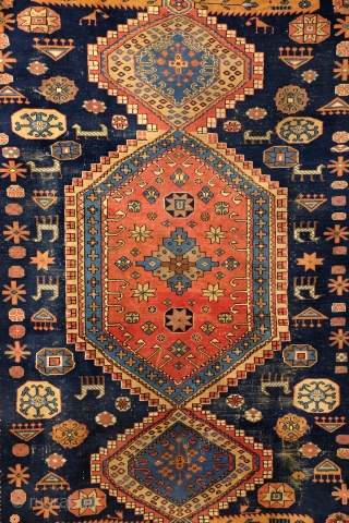 Kazak, Shirvan area, natural colors, large - 300 x 226 Cm. 10 ft. x 7.5 ft.  Nice thight pile, in good condition.