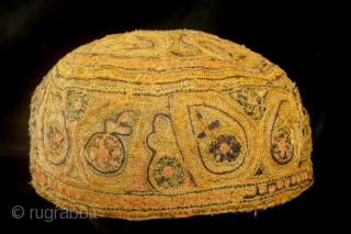 Cap,Turkman, fine embroidery with gold brocade. 