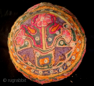 Cap, Turkmen, antique, fine embroidery, high 11 Cm. wide 18 Cm.