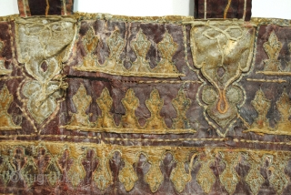 cradle or hammock Chair, Persian. 75 x 140 Cm.  2.5 ft. x 4.6 ft.   Fabric on the inside and leather on the outside.   Very old, can't say how old exactly. 19th.,18th  ...