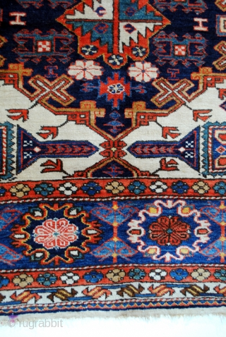 Rare antique Ardebil rug with Konaghend design and Talish borders.  210 x 148 Cm. 7 feet x 5 feet.  Wool on wool. Warp and weft of white wool.  Age, ca 1920.   In  ...