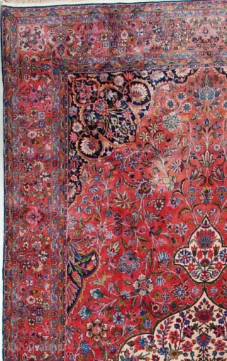 """This circa 1920 antique Kashan Persian Oriental carpet measures 9'6"""" X 19'10"""" (292 x 609). This carpet of unbelievable quality is woven with Manchester wool. It has a large pulled medallion  ..."""