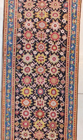 """This 19th century Karabaugh antique Oriental Rug runner measures 3'5""""  X 16'2"""" ( 106 x 494 cm). It has a really lovely Minekani design. The flowers are done in tobacco, various  ..."""