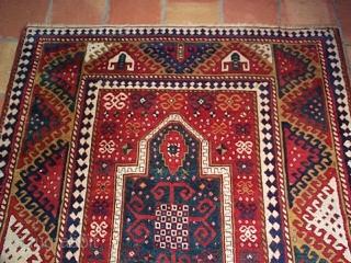 "#5625 Borjalou Kazak  This antique Caucasian Borjalou Kazak rug measures 5'4"" X 7"". It is a nice big Kazak and the only prayer Borjalou I have ever seen. The prayer design is in  ..."