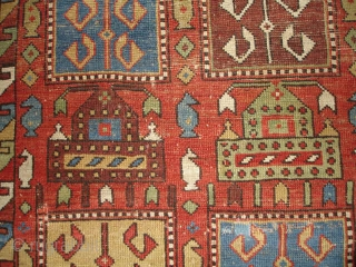 """#6733 Tachte Shirvan antique Rug      This Tachte Shirvan measures 3 ' 8"""" x 4' 5 """".   In my knowledge this is an unpublished design. It is a  ..."""