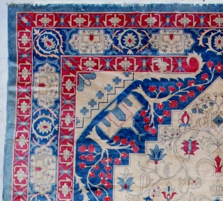 """#7147 India Amritsar  This circa 1900 fabulous India Amritsar rug measures 9'11"""" X 13'10"""". It is extremely finely woven with a knot per square inch count of 240.  It has a very  ..."""