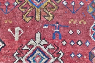 Genje Rug,  5.4ft x 4 ft. (166 x 120 cm.) 19 th. century.  Distinct antique Genje rug:  fairly loosely woven  on a primitive, nomadic loom. The madder red  ...