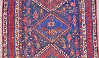 Afshar Rug, 5.5ft x 3.9ft (170 cm x 120 cm.) late 19 th. century. Sirjan area, possibly Bolvard village. The dark blue ground with three large diamond shaped lozenges, surrounded by   ...