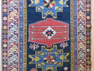 Caucassian Shahnasar shirvan rug wonderful colors ,very good condition all original and  size 2,33x1,25 cm ( 49 ''x 91'' inches ) Circa 1890-1900