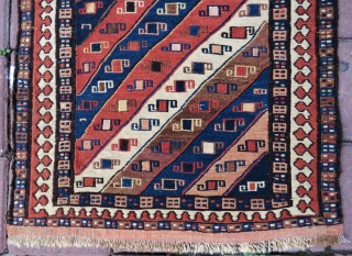 Shahsavan bag face wonderful colors and excellent condition all original very fine work also some inside silk embroidery size (16x20 inches ) 52x43 cm and  Circa 1880-1890